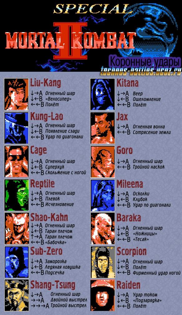 Mortal Kombat II Special приёмы/коронные удары